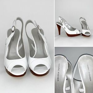 Marc Fisher White Women's Peep Toe Slingback - 7.5